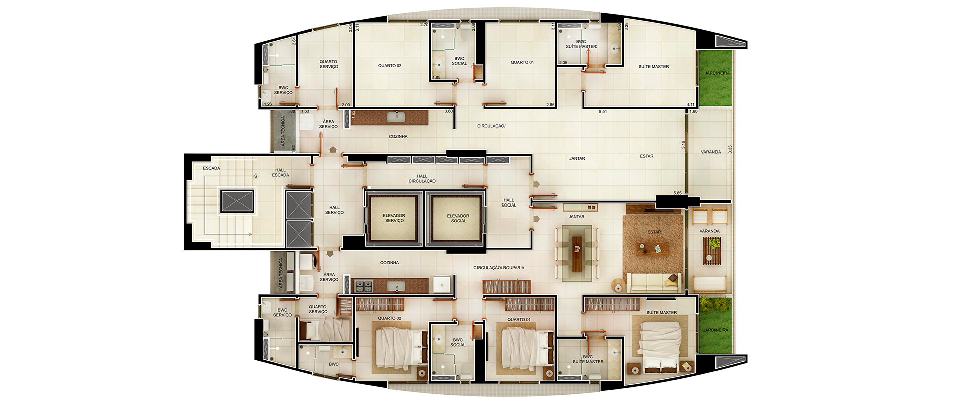 6- Planta Baixa Apartamento 2 suites